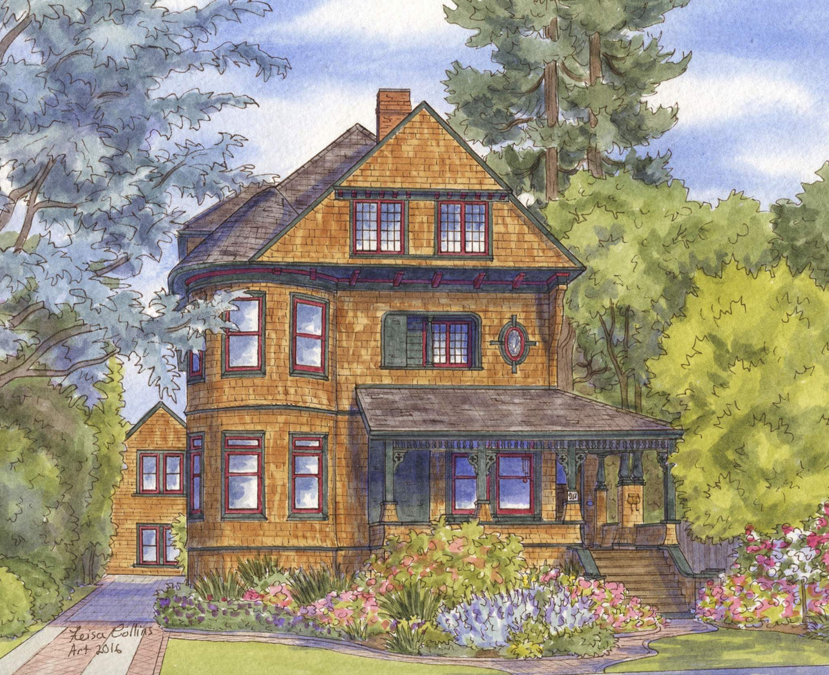 leisa-collins-art-shop - Alameda CA Queen Anne - Pen and watercolor