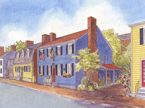 leisa-collins-art-shop - Annapolis, MD Heritage Homes - Pen and watercolor