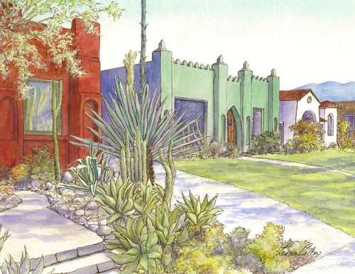 leisa-collins-art-shop - Atwater Village Los Angeles Fantasy Bungalows - Pen and watercolor