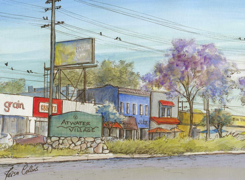 leisa-collins-art-shop - Atwater Village Los Angeles Main Street - Pen and watercolor