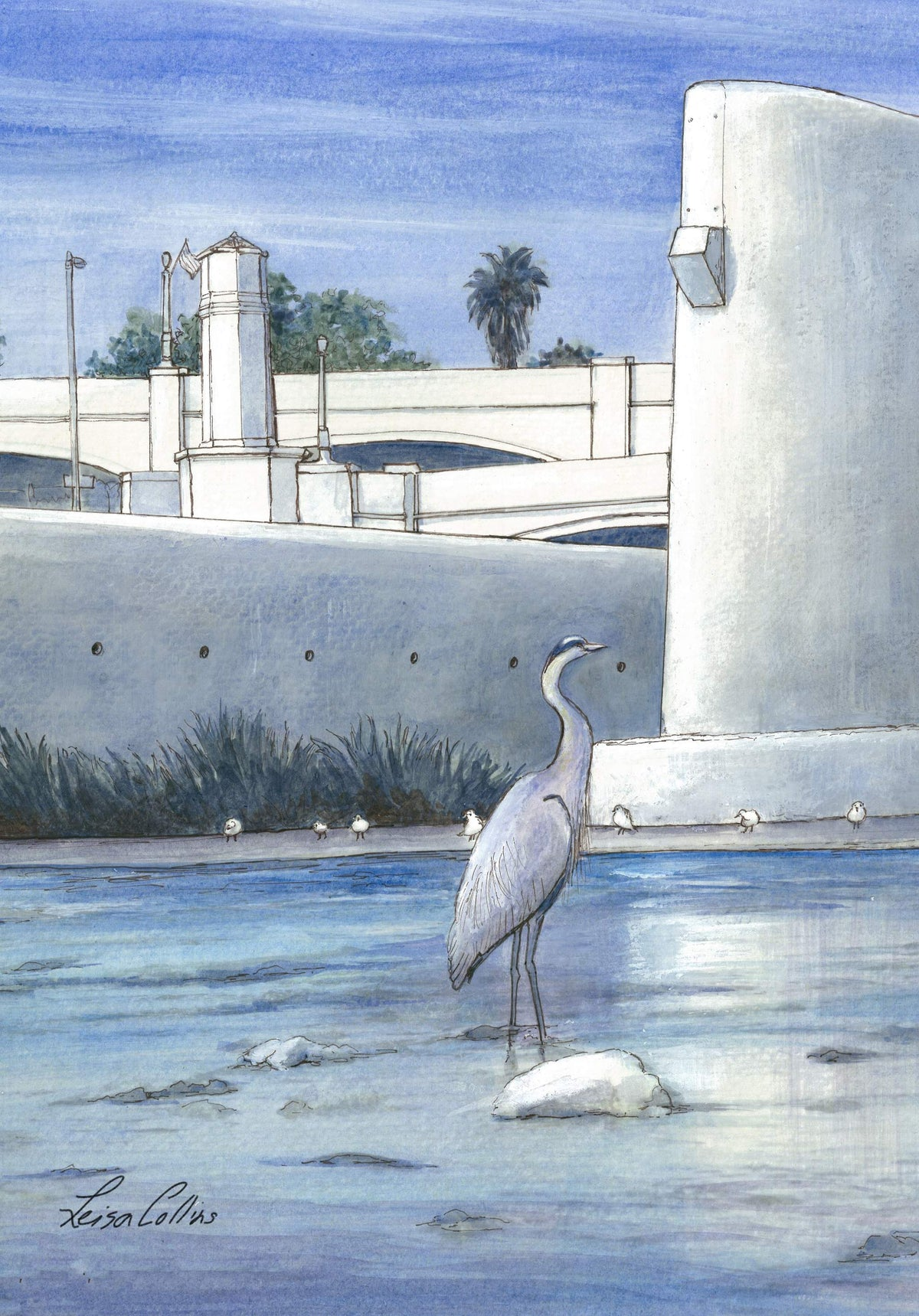 leisa-collins-art-shop - Atwater Village Los Angeles River - Pen and watercolor