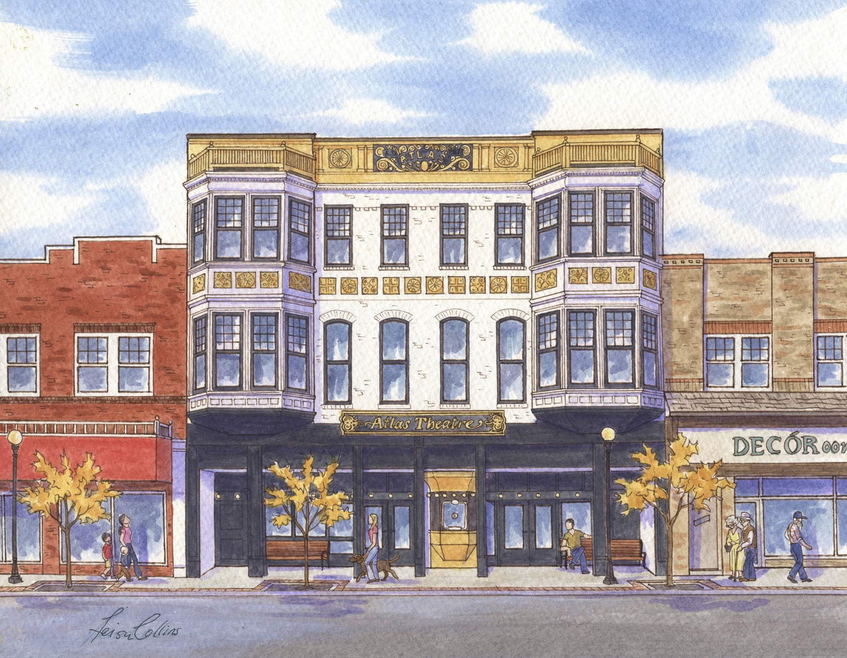 leisa-collins-art-shop - Cheyenne Atlas Theater, WY - Pen and watercolor
