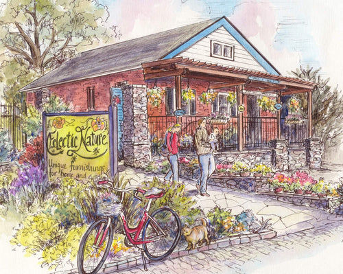 leisa-collins-art-shop - Del Ray Alexandria VA - Eclectic Gardens - Pen and watercolor