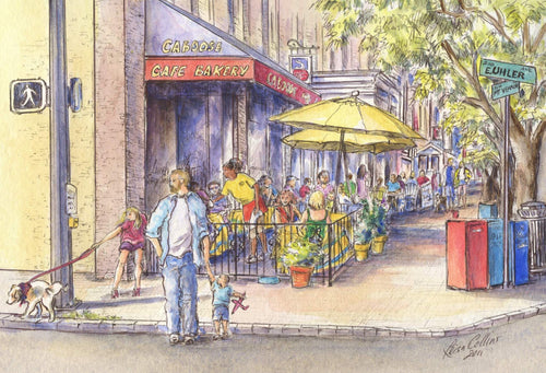 leisa-collins-art-shop - Del Ray Alexandria VA Main Street - Pen and watercolor