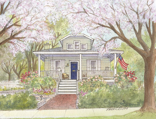 leisa-collins-art-shop - Del Ray Alexandria VA in the Spring - Pen and watercolor