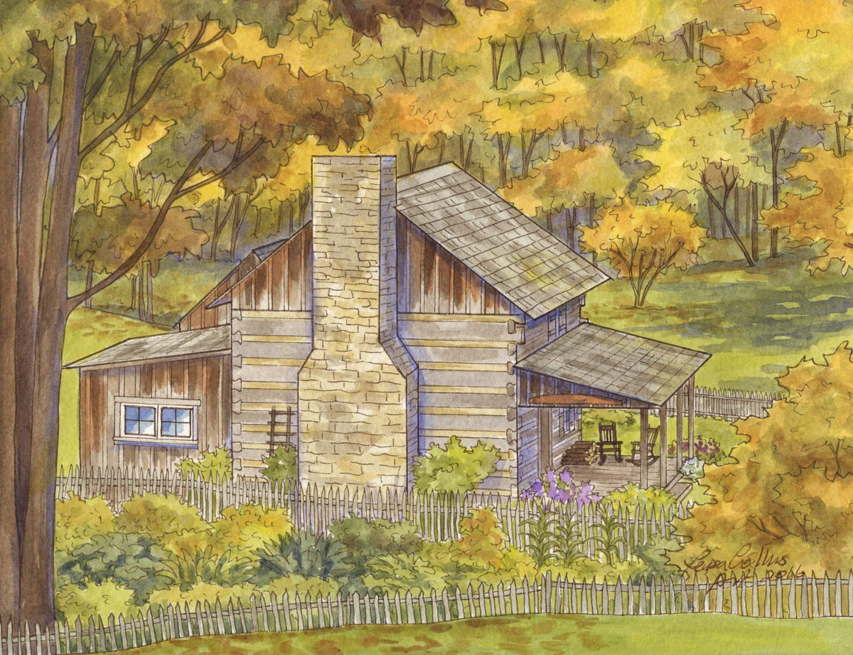 leisa-collins-art-shop - High Winds, WV Historic Cabin - Pen and watercolor