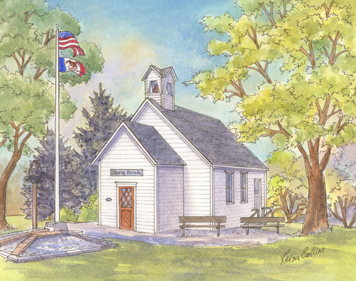 leisa-collins-art-shop - Historic School House Woodbine, Iowa - Pen and watercolor
