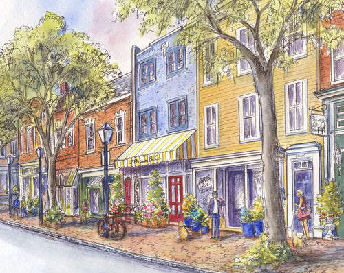 leisa-collins-art-shop - Old Town Alexandria VA King Street - Pen and watercolor