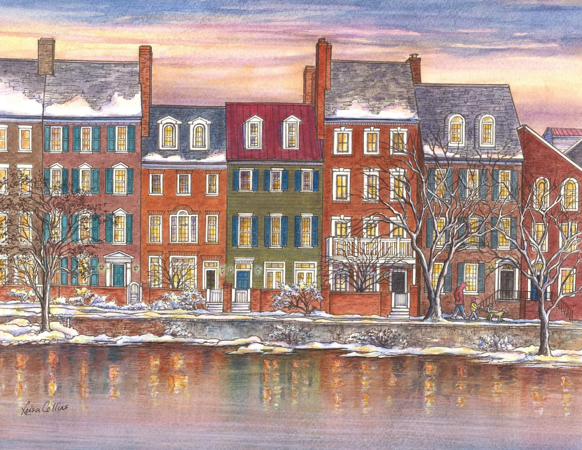leisa-collins-art-shop - Old Town Alexandria VA Homes on Waterfront - Pen and watercolor