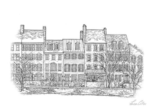 leisa-collins-art-shop - Old Town Alexandria VA Homes on Waterfront - Pen drawing