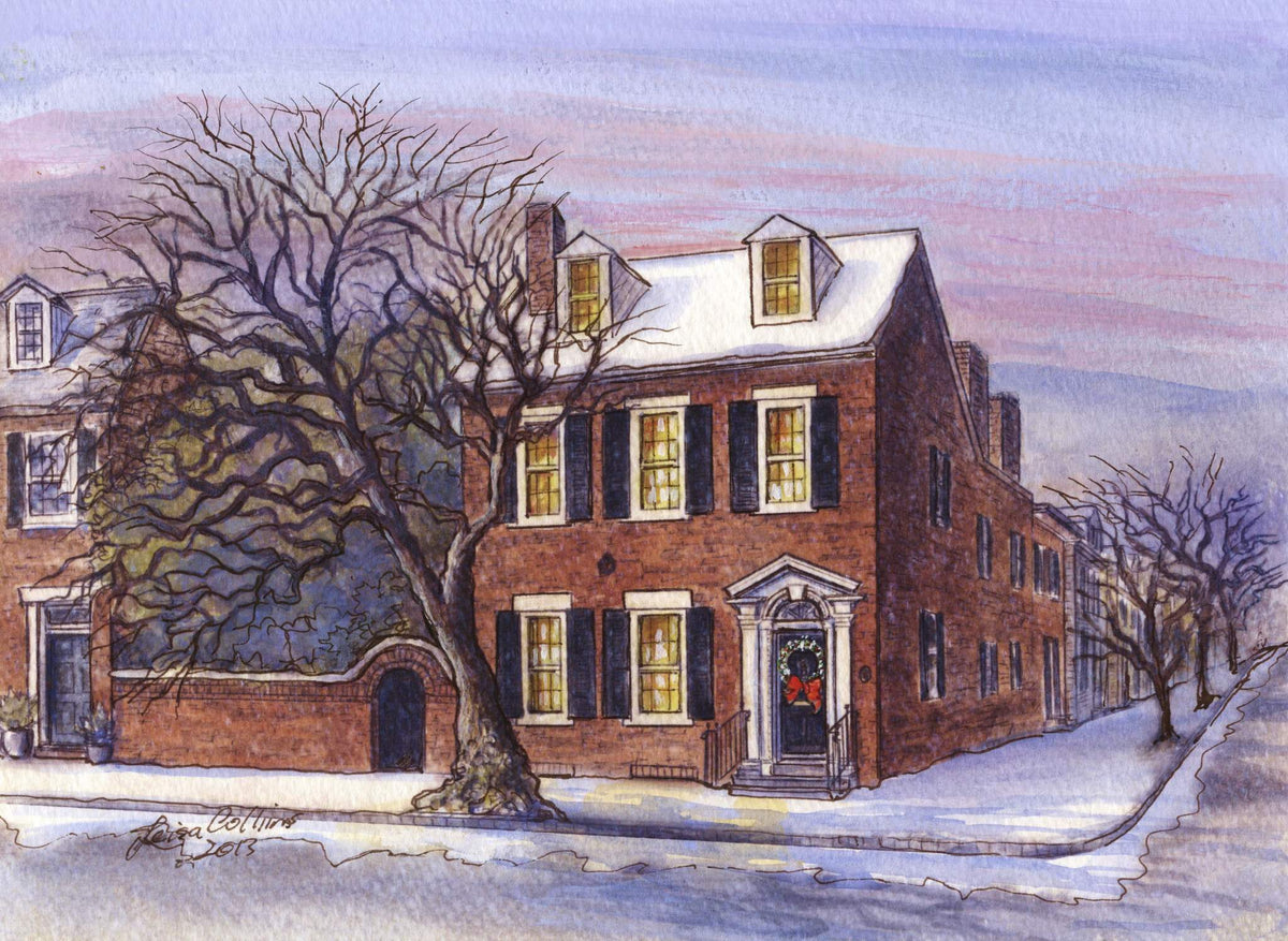 leisa-collins-art-shop - Old Town Alexandria VA in the Winter - Pen and watercolor
