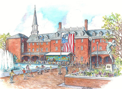 leisa-collins-art-shop - Old Town Alexandria VA Market Square - Pen and watercolor