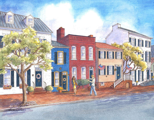 leisa-collins-art-shop - Old Town Alexandria VA Queen Street - Pen and watercolor