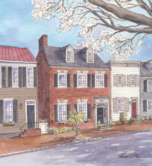 leisa-collins-art-shop - Old Town Alexandria VA S. Lee St - Pen and watercolor