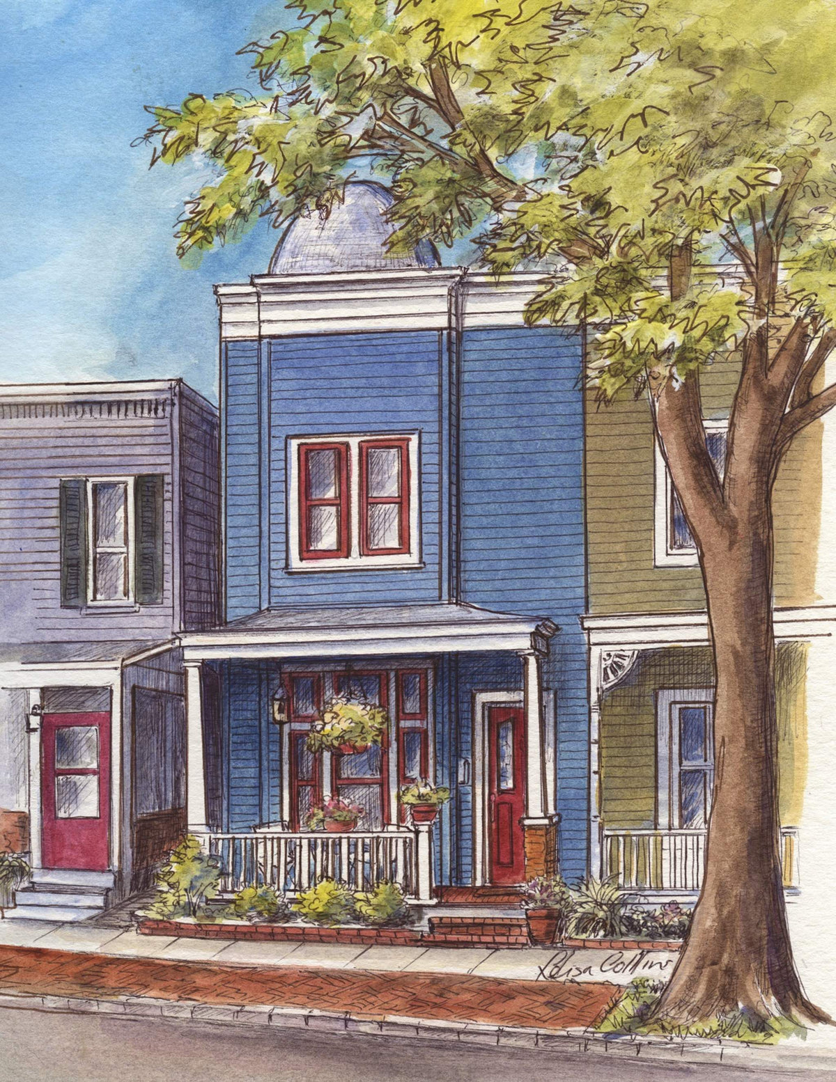 leisa-collins-art-shop - Old Town Alexandria VA Victorian Row Houses - Pen and watercolor