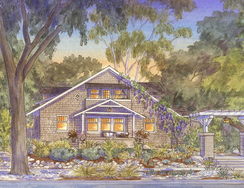 leisa-collins-art-shop - Pasadena CA Bungalow - Pen and watercolor