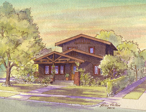 leisa-collins-art-shop - Pasadena CA Classic Craftsman - Pen and watercolor