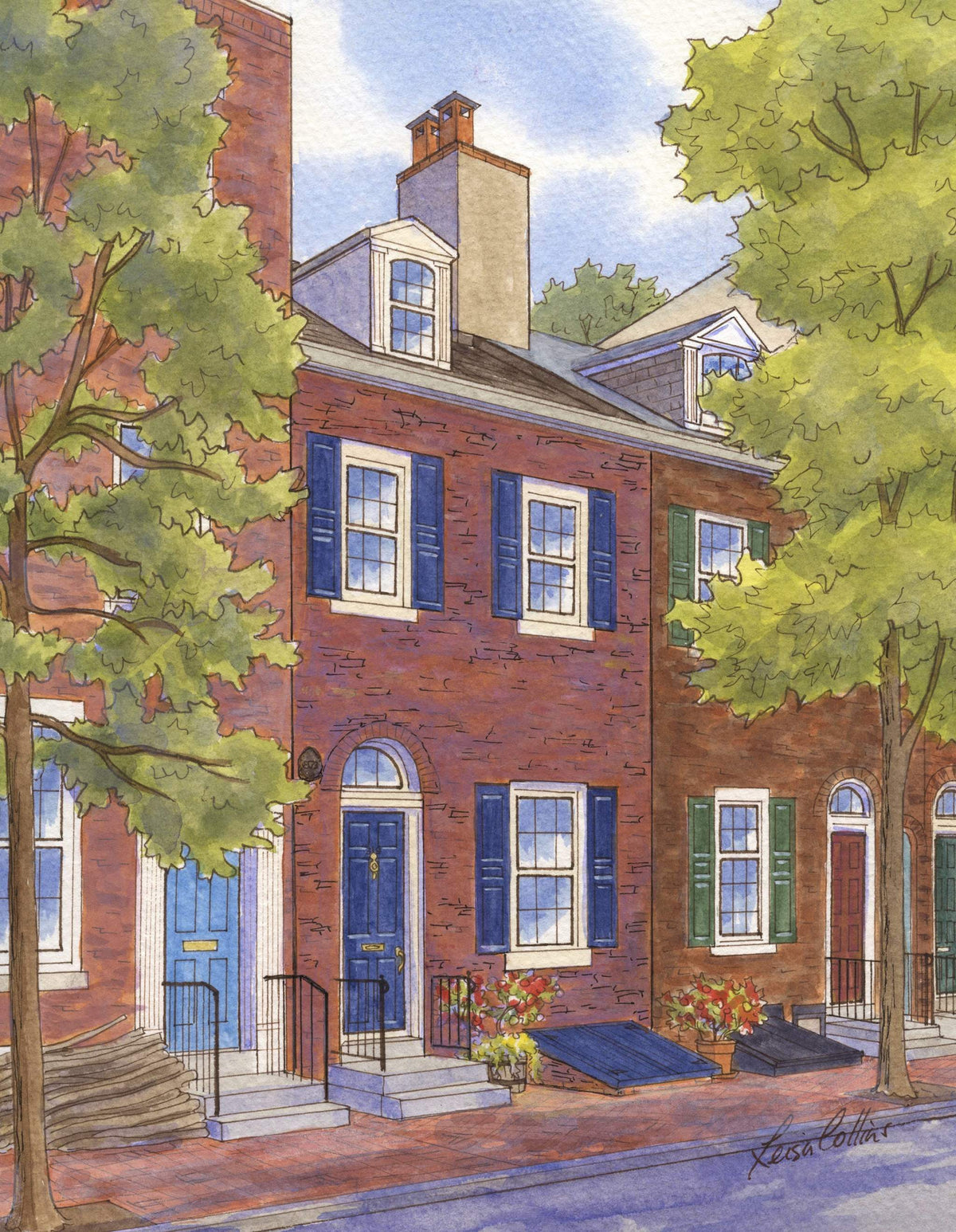 leisa-collins-art-shop - Philadelphia Row Houses - Pen and watercolor