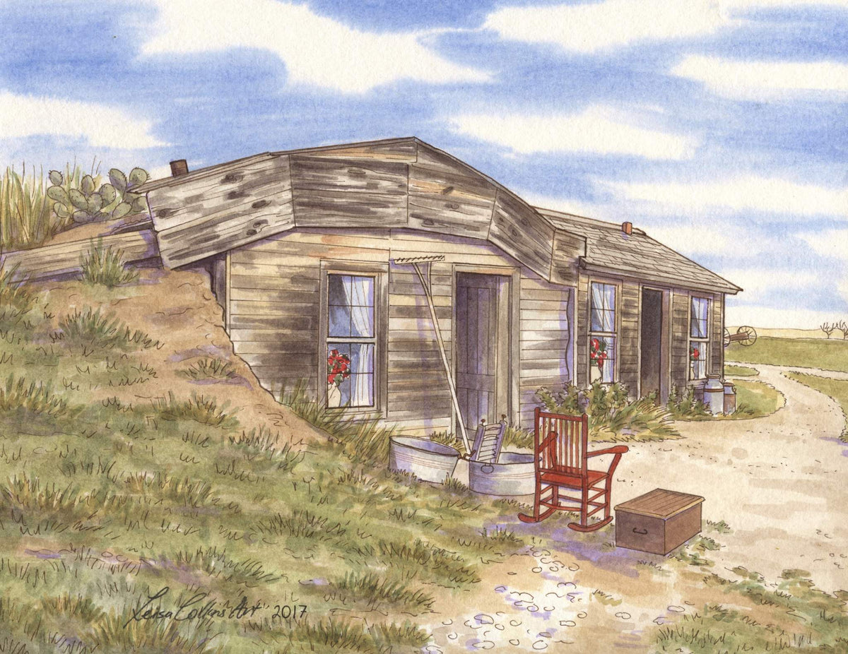 leisa-collins-art-shop - Philip SD Sod Prairie Home - - Pen and watercolor