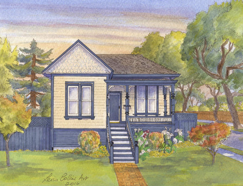 leisa-collins-art-shop - San Jose CA Historic Cottage - Pen and watercolor