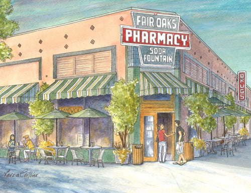 leisa-collins-art-shop - South Pasadena CA Fair Oaks Pharmacy - Pen and watercolor