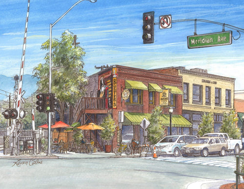 leisa-collins-art-shop - South Pasadena CA Mission Street - Pen and watercolor