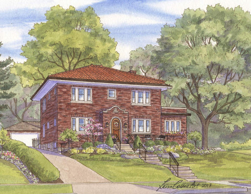 leisa-collins-art-shop - St. Louis MO Clayton House - Pen and watercolor