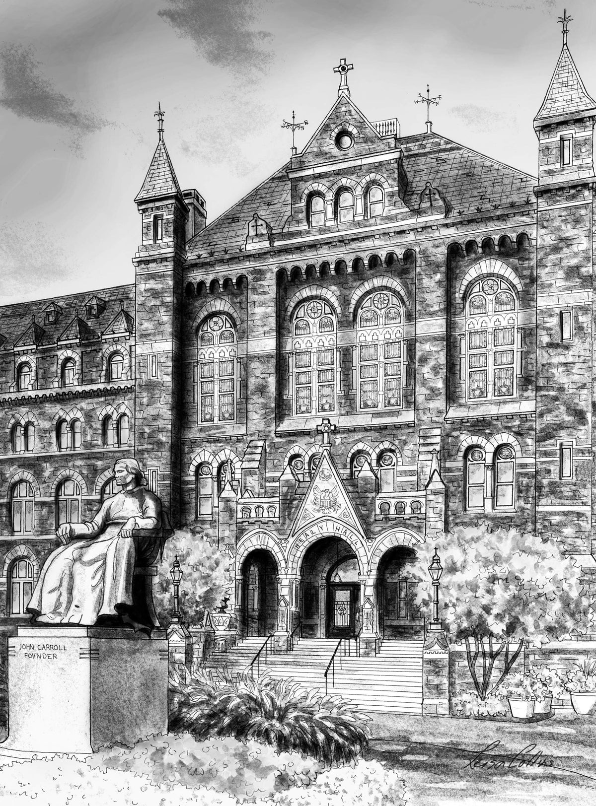 leisa-collins-art-shop - Washington DC Healy Hall, Georgetown University - Black and White - Pen and watercolor