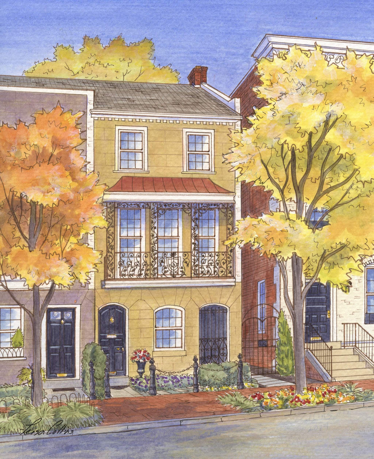 leisa-collins-art-shop - Washington DC in the Fall - Pen and watercolor