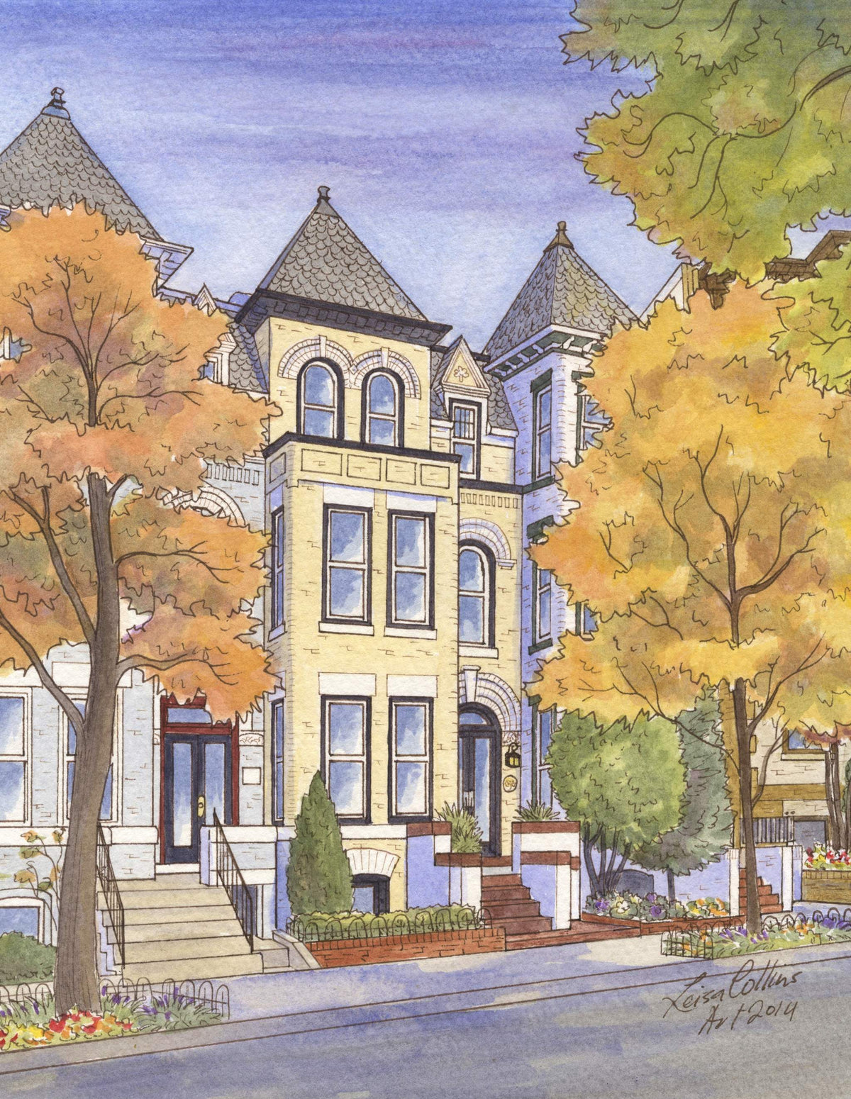leisa-collins-art-shop - Washington DC Victorian Row Houses - Pen and watercolor