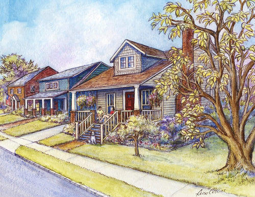 leisa-collins-art-shop - Bungalow Porch Community in Alexandria VA - Pen and watercolor