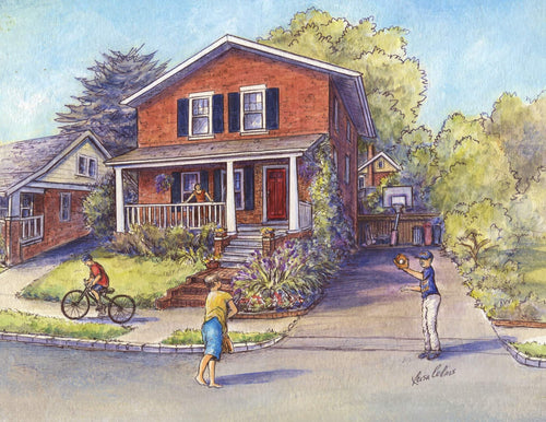 leisa-collins-art-shop - Alexandria VA Kids Playing Ball in Street - Pen and watercolor