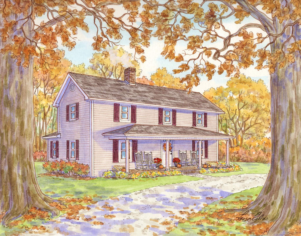 leisa-collins-art-shop - A Century of Seasons Farmhouse in Fall - Pen and watercolor