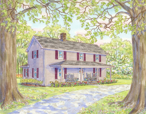leisa-collins-art-shop - A Century of Seasons Farmhouse in Spring - Pen and watercolor