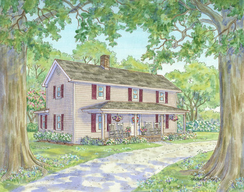 leisa-collins-art-shop - A Century of Seasons Farmhouse in Summer - Pen and watercolor