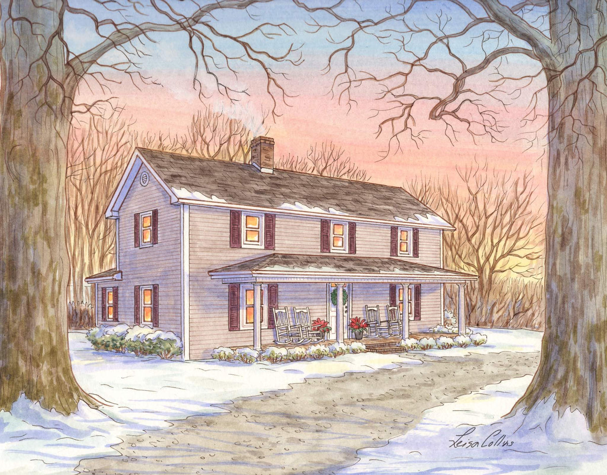 leisa-collins-art-shop - A Century of Seasons Farmhouse in Winter - Pen and watercolor