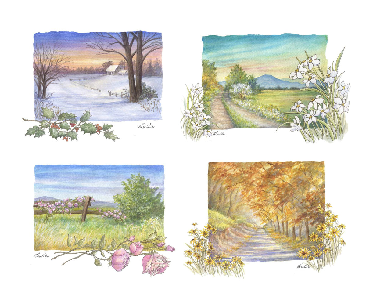 leisa-collins-art-shop - Country Scene in Four Seasons Collage - Pen and watercolor