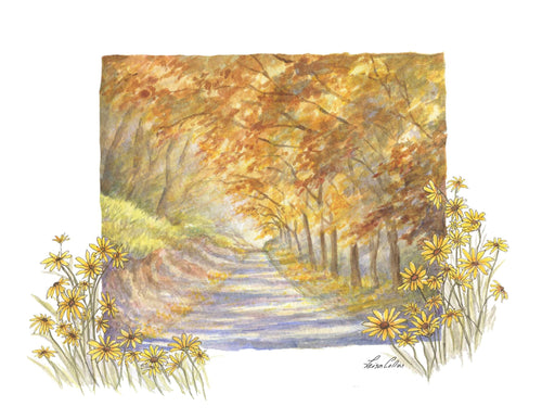 leisa-collins-art-shop - Country Scene in Fall - Pen and watercolor