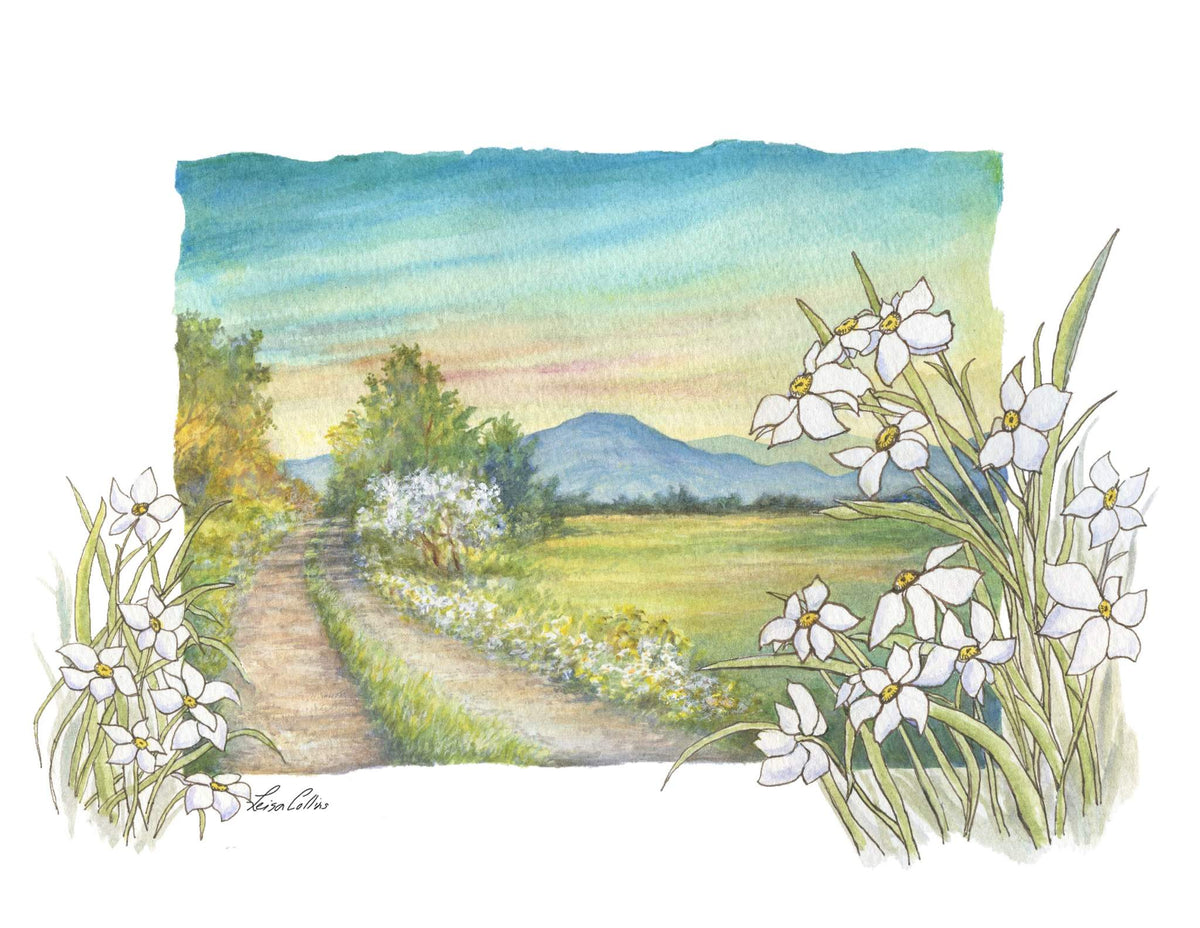 leisa-collins-art-shop - Country Scene in Spring - Pen and watercolor