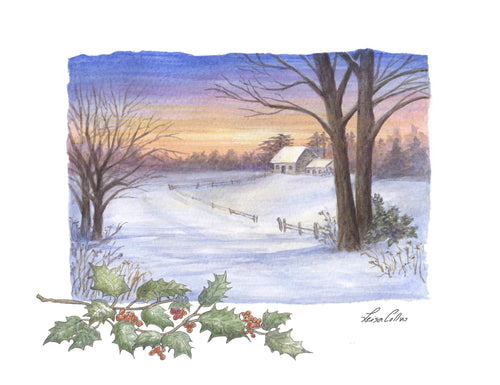 leisa-collins-art-shop - Country Scene in Winter - Pen and watercolor