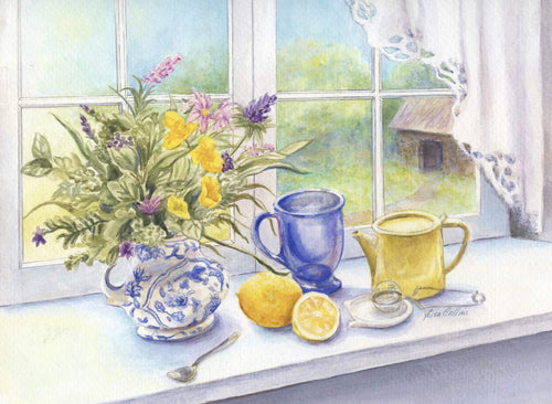 leisa-collins-art-shop - Morning Tea with Lemon Still Life - Watercolor