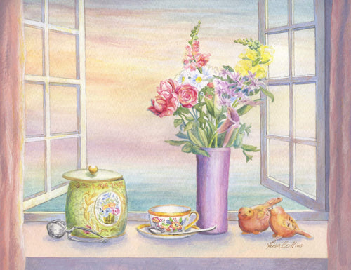 leisa-collins-art-shop - Tea with a View Still Life - Watercolor