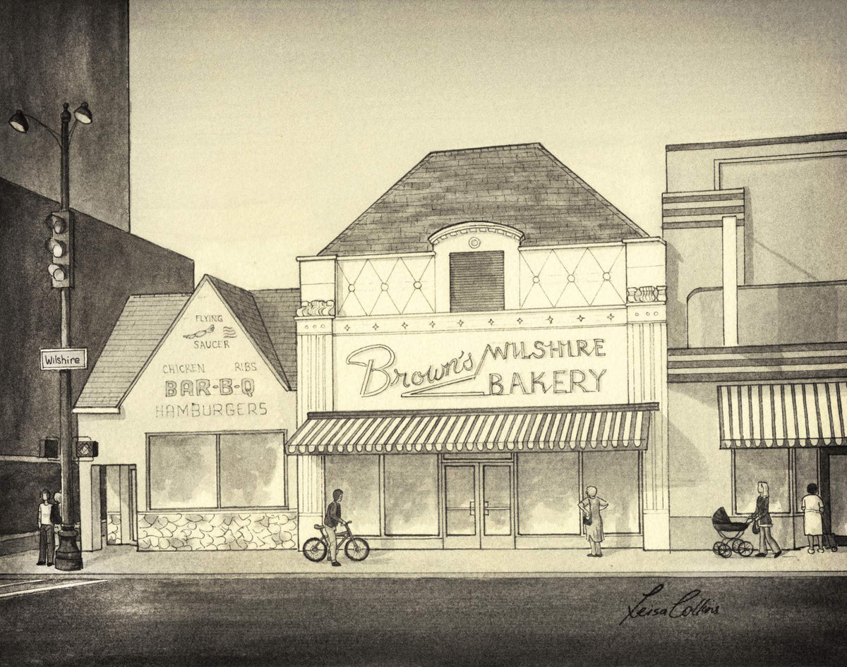leisa-collins-art-shop - Los Angeles CA, Brown's Bakery on Wilshire Ave Vintage Street Scene - Pen and sepia wash