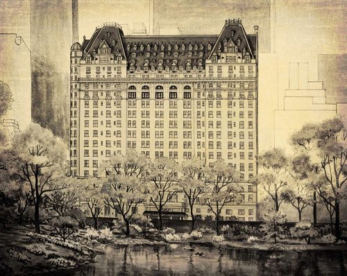 leisa-collins-art-shop - NY Plaza Hotel, NY City, NY Vintage Scene - Pen and sepia wash