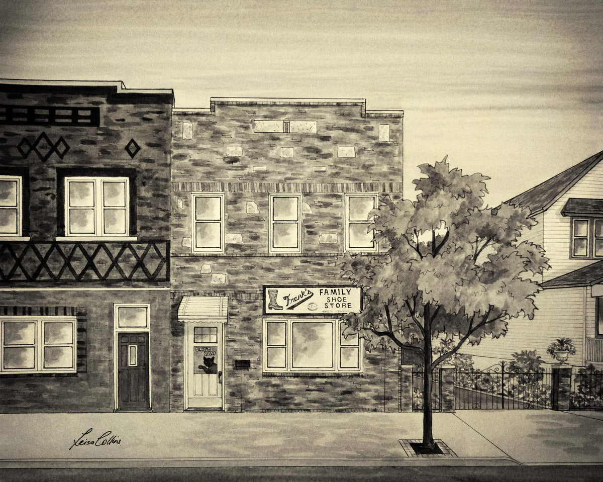 leisa-collins-art-shop - Sutter Avenue Ozone Park, NY Vintage Street Scene - Pen and sepia wash