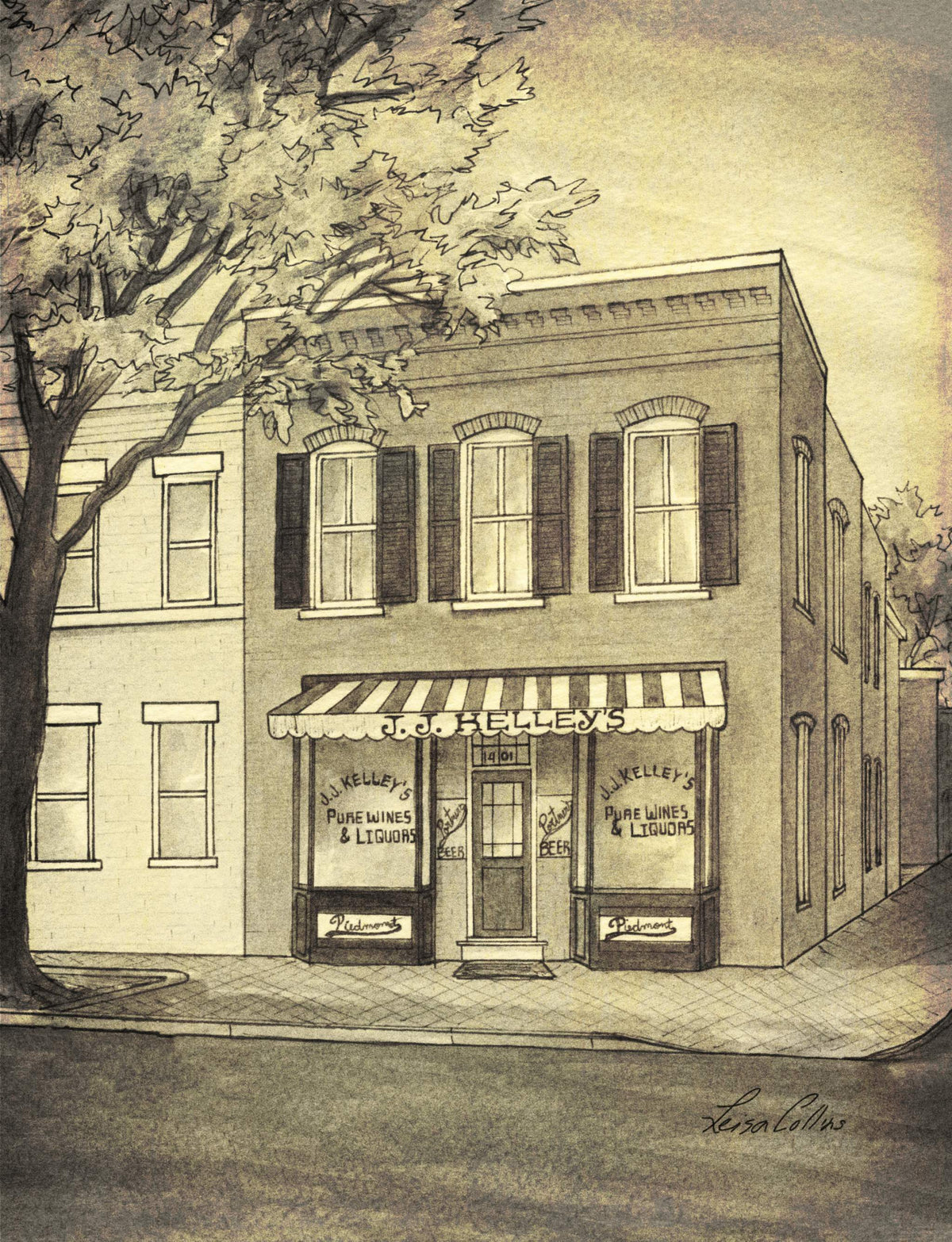 leisa-collins-art-shop - King St, Old Town Alexandria, VA Vintage Street Scene - Pen and sepia wash