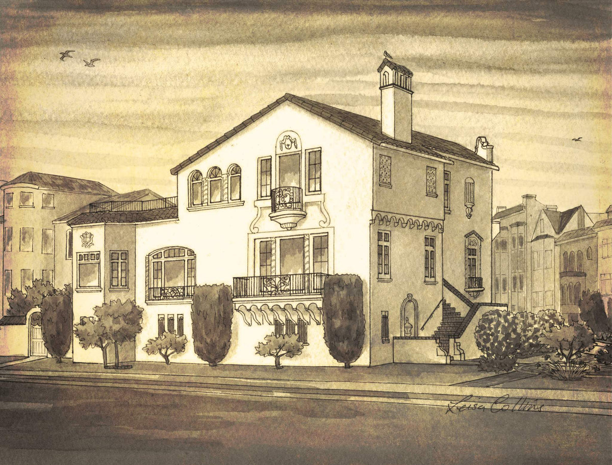 leisa-collins-art-shop - Marina Blvd, San Francisco CA Vintage Street Scene - Pen and sepia wash