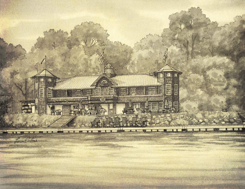leisa-collins-art-shop - Washington Canoe Club, Georgetown, DC - Pen and sepia wash
