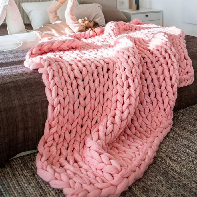 80*100cm Hand Chunky Knitted Blanket Thick Wool look Bulky Knitting Throw 6 Colors