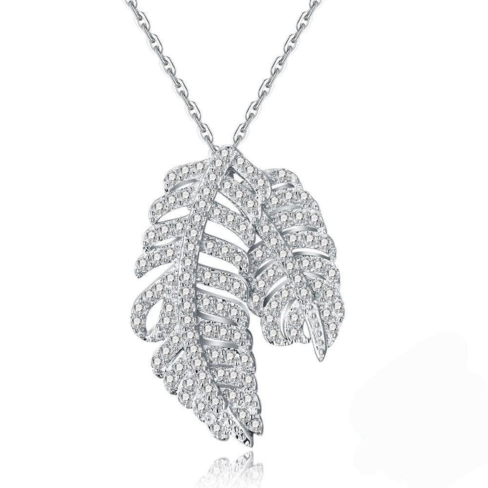 Silver Double Leaf Necklace Zircon Fashion Necklace